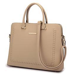MKY Women Slim Leather Briefcase Laptop Handbag Work Satchel