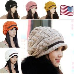 Slouchy Beanie Cap Crochet Beret Knitted Warm Baggy Ski Hats