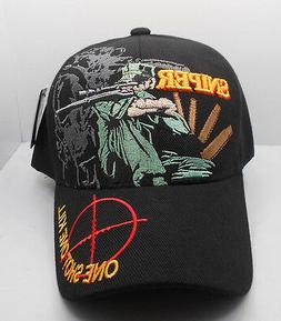 Sniper One Shot One Kill Ball Cap Hat in Black Nwt New H36