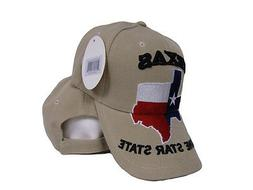 State of Texas Lone Star Map Flag Khaki Acrylic Embroidered
