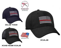 Support Firefighter Thin Red Line Flag Cap Low Profile Hat B