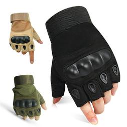 Tactical Hard Knuckle Half-finger Gloves Mens Army Military