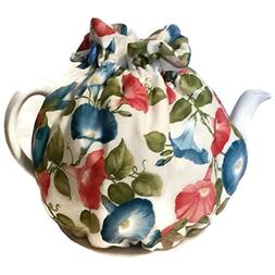 Teapot cozy, tea warmers with Blue Red Flowers and Humming b