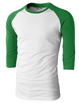 TL Men's Baseball Crew Neck Cotton Long or 3/4 Sleeve Essent