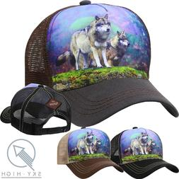 TRUCKER HAT Animal WOLF Baseball Cap Adjustable Mesh Snapbac