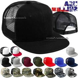 Trucker Hat Mesh Baseball Cap Snapback Adjustable Flat Visor