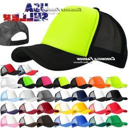 Trucker Hat Foam Mesh Baseball Snapback Cap Curved Plain Sol