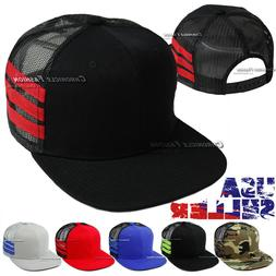 Trucker Hat Mesh Baseball Snapback Cap Plain Flat Hip Hop Ad