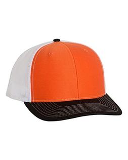 Richardson Twill Mesh Back Trucker Snapback Hat -- Orange/Wh