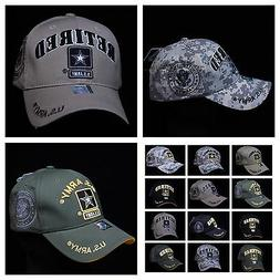 U.S. Army Veteran Retired Baseball Cap Military Hat Camo Log