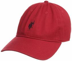U.S. Polo Assn. Men's Small Solid Horse Adjustable Cap, Red,