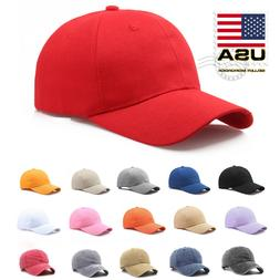 US Polo Style Baseball Cap Adjustable Plain Solid Washed Cot