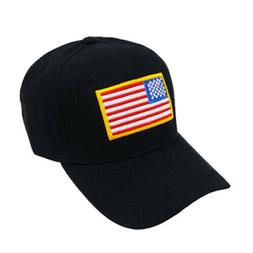 USA FLAG CAP HAT BLACK BASEBALL NEW HEADWEAR ACRYLIC 6 PANEL