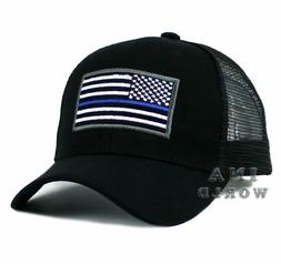 USA Flag Hat POLICE THIN BLUE LINE SUPPORT LAW ENFORCEMENT M