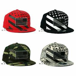USA Flag Hat Structured Rubber Flag Snapback Flat Bill Cotto
