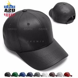 V-Adjustable Solid Leather Classic Unisex Trucker Baseball C