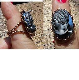 Vintage Doublet Glass & Resin BLACK Cameo RING, Victorian Re