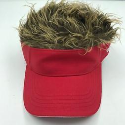 Visor cap fake hair  adjustable  with blonde hair