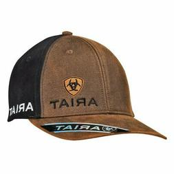 Ariat Western Mens Hat Baseball Cap Snap Clousure Logo Black Brown 1501502