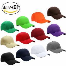 Wholesale 12pcs Classic Plain Baseball Cap Dad Hat Adjustabl
