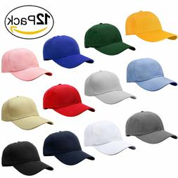 Wholesale Lot Classic Plain Baseball Cap Hat Adjustable Size