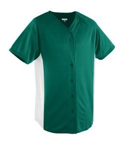 Wicking Color Block Button Front Jersey Green/White - Small