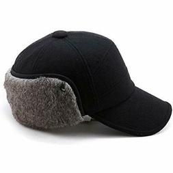SIGGI Wool Winter Visor Baseball Cap Earflap Hat Faux Fur fo a51068f00ad6