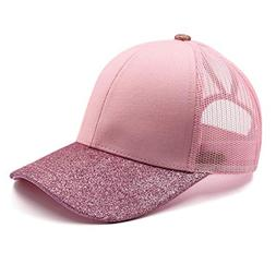 womens glitter ponytail hat plain baseball cap