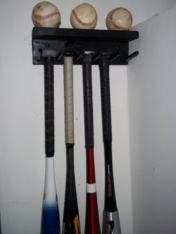Wood Storage Large Full Size Bat Rack Holds 5 Bats and 3 Bas