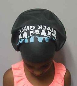 XL Black Girls Swim Cap for Long Hair, Locks and Extensions