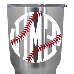 Yeti Tumbler Decal Baseball or Softball Fancy Circle Monogra