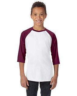 Alo Sport Youth Baseball T-Shirt - WHITE/SP MAROON - S
