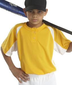 Badger Sport Youth Hook Placket T-Shirt - 2938 - Gold / Whit