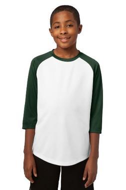 Sport-Tek Youth PosiCharge Baseball Jersey T-Shirt YST205 Wh
